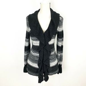 WHBM Ruffle Cardigan Size L Gray Ombre Wool Blend